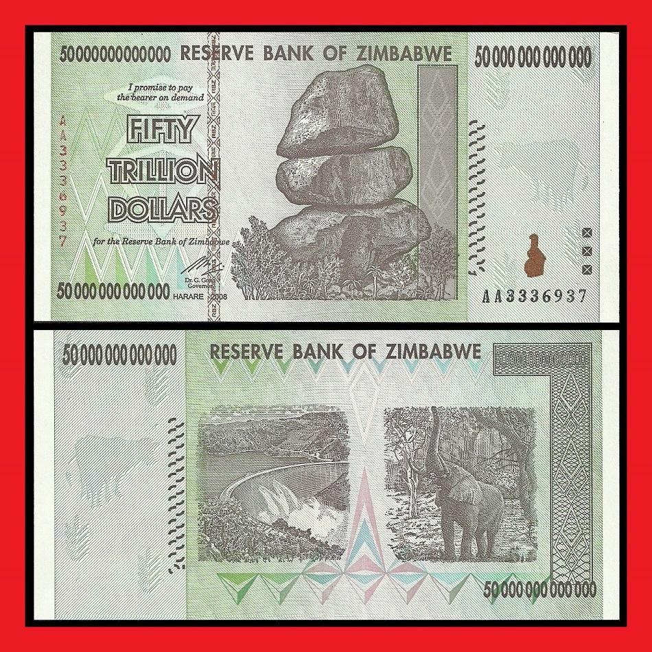 Zimbabwe 50 Trillion Dollar Banknote Aa